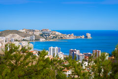 Cullera beach aerial with skyline of village Valencia Stock Photography