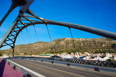 Cullera bridge over Xuquer Jucar river of Valencia Royalty Free Stock Images