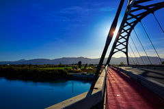 Cullera bridge over Xuquer Jucar river of Valencia Royalty Free Stock Photos