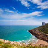Cullera Cala beach near Faro in blue Mediterranean Royalty Free Stock Image