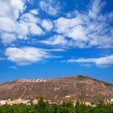 Cullera-Dorfberg in Valencia in Mittelmeer-Spanien Stockfotografie