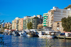 Cullera fisherboats port in Xuquer Jucar river Stock Photo