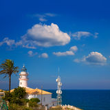 Cullera lighthouse in Valencia at Mediterranean sea Stock Images
