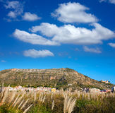 Cullera mountain with white sign writted on in Stock Photography