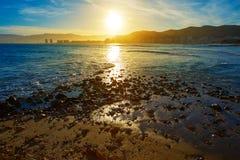 Cullera Playa Los Olivos ηλιοβασίλεμα παραλιών στη Βαλένθια Στοκ φωτογραφία με δικαίωμα ελεύθερης χρήσης