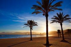 Cullera Playa Los Olivos ηλιοβασίλεμα παραλιών στη Βαλένθια Στοκ Εικόνες