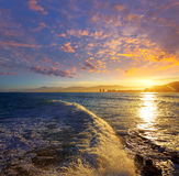 Cullera Playa los Olivos beach sunset in Valencia Stock Photography