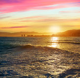 Cullera Playa los Olivos beach sunset in Valencia Royalty Free Stock Photography