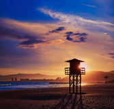 Cullera Playa los Olivos beach sunset in Valencia Stock Photos