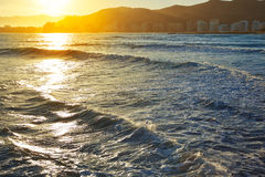 Cullera Playa los Olivos beach sunset in Valencia Stock Image
