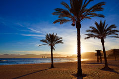 Cullera Playa los Olivos beach sunset in Valencia Stock Images