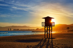 Cullera Playa los Olivos beach sunset in Valencia Royalty Free Stock Photos