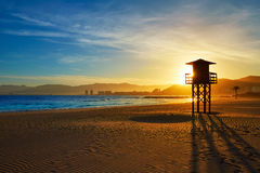 Cullera Playa los Olivos beach sunset in Valencia Royalty Free Stock Images
