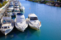 Cullera port marina in Xuquer Jucar river Valencia Stock Images