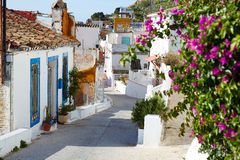 Cullera village streets in Mediterranean Valencia Stock Photos
