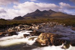 The Cullin hills and river Stock Image