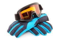 Óculos de proteção e luvas do esqui Foto de Stock Royalty Free