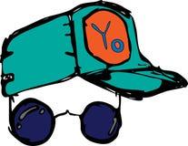 ?culos de sol e tamp?o Pop art Cadeira de plataforma na praia em Brigghton ilustração stock