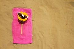 Óculos de sol na praia arenosa Fotos de Stock