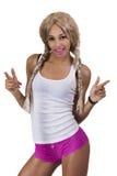 Culottes blondes de perruque de femme de couleur légère de teint Photographie stock libre de droits
