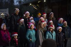 Culpeper, Virginia/USA-11/17/18: Carolers singing at the Christmas festival in Culpeper Virginia. royalty free stock photography