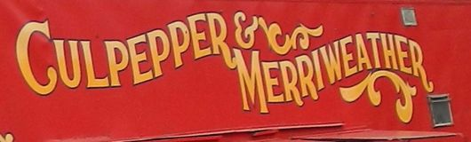 Culpepper And Merriweather circus red display banner. Culpepper And Merriweather circus close up to there red banner trailer logo Royalty Free Stock Image