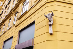 Culpture on wall of apartment house in Brno town Royalty Free Stock Photography