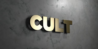 Cult - Gold sign mounted on glossy marble wall  - 3D rendered royalty free stock illustration. This image can be used for an online website banner ad or a Stock Images