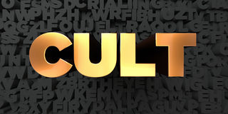 Cult - Gold text on black background - 3D rendered royalty free stock picture. This image can be used for an online website banner ad or a print postcard Stock Photo