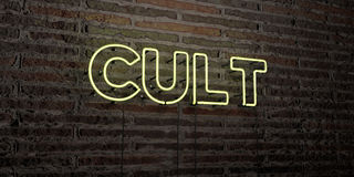 CULT -Realistic Neon Sign on Brick Wall background - 3D rendered royalty free stock image. Can be used for online banner ads and direct mailers Royalty Free Stock Image