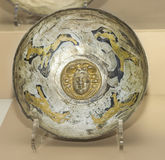 Cult utensils. Vial. 1st century AD, Silver, gilding. AZOV, RUSSIA- SEPTEMBER 20- Cult utensils. Vial. 1st century AD Silver, gilding in the museum - reserve on stock photos