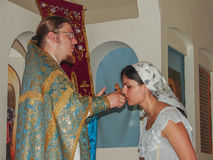 Culte chrétien le jour de la vénération de l'icône orthodoxe de saint de la mère de Kaluga de Dieu dans le secteur d'Iznoskovsky, Images stock