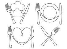 Cultery and plate. One line drawing vector illustration