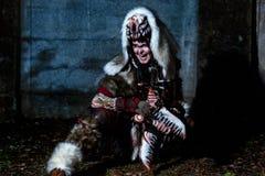 Cultic spiritually shaman performing ritual Royalty Free Stock Photos