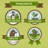 Cultivando crachás da colheita e da agricultura ou grupo de etiquetas Fotografia de Stock Royalty Free