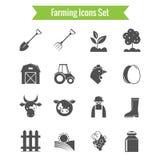 Cultivando os ícones da colheita e da agricultura ajustados Fotografia de Stock Royalty Free