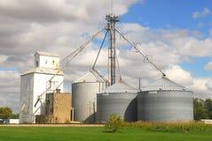 Cultivando silos em Illinois Fotos de Stock