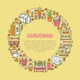Cultivando un huerto, bandera del establecimiento y de la horticultura con la línea icono del vector Equipo de jardín, semillas o Fotos de archivo libres de regalías