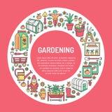 Cultivando un huerto, bandera del establecimiento y de la horticultura con la línea coloreada icono del vector Equipo de jardín,  Imagen de archivo