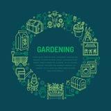 Cultivando un huerto, bandera del establecimiento y de la horticultura con vector Imagenes de archivo