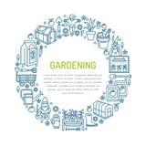 Cultivando un huerto, bandera del establecimiento y de la horticultura con vector Foto de archivo libre de regalías
