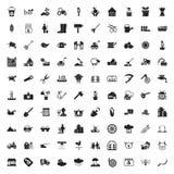 Cultivando un huerto 100 iconos fijados para el web Fotos de archivo