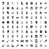 Cultivando un huerto 100 iconos fijados para el web Foto de archivo