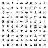 Cultivando un huerto 100 iconos fijados para el web Fotografía de archivo libre de regalías