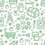 Cultivando un huerto, modelo inconsútil verde del establecimiento y de la horticultura con la línea iconos del vector Equipo de j Foto de archivo