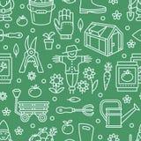Cultivando un huerto, modelo inconsútil verde del establecimiento y de la horticultura con la línea iconos del vector Equipo de j Imágenes de archivo libres de regalías