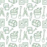 Cultivando un huerto, modelo inconsútil verde del establecimiento y de la horticultura con la línea iconos del vector Equipo de j Fotografía de archivo