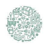 Cultivando un huerto, plantando, bandera de la horticultura con la línea icono del vector Equipo de jardín, casa verde, espantapá Fotografía de archivo libre de regalías