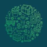 Cultivando un huerto, plantando, bandera de la horticultura con la línea icono del vector Equipo de jardín, casa verde, espantapá Fotografía de archivo