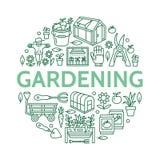 Cultivando un huerto, plantando la bandera de la horticultura con la línea icono del vector Equipo de jardín, semillas orgánicas, Fotos de archivo libres de regalías